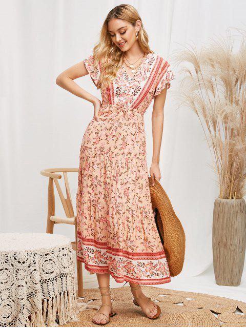 buy Floral Print Buttons Slit Maxi Dress - MULTI M Mobile