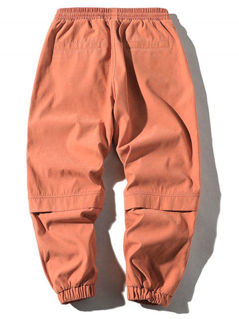 Pantalones Jogger con Cordón y Estampado de Letras - Naranja XS Mobile