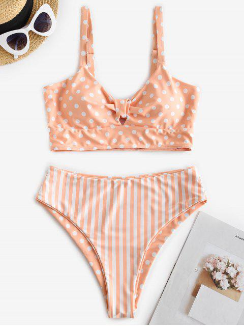 ZAFUL Maillot de Bain Tankini Réversible à Coupe Haute à Pois - Orange Rose S Mobile