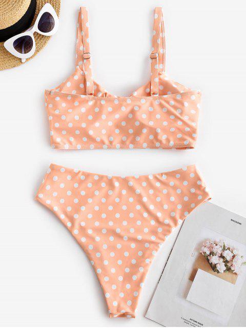 best ZAFUL Polka Dot Reversible High Cut Tankini Swimwear - ORANGE PINK S Mobile