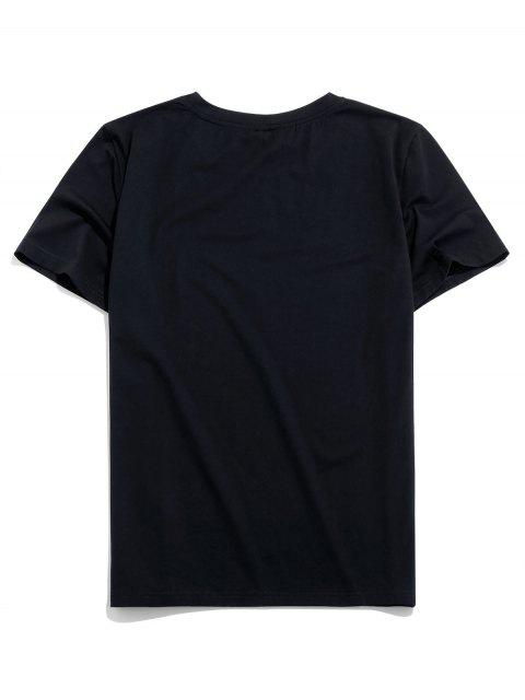 unique ZAFUL Planet Printed Short Sleeves T-shirt - BLACK L Mobile