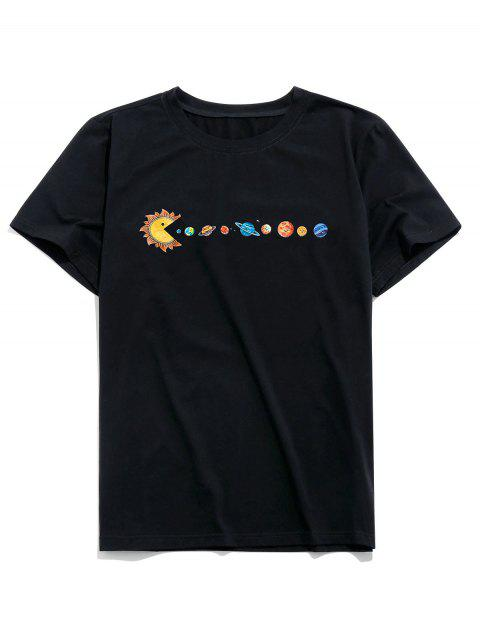 sale ZAFUL Planet Printed Short Sleeves T-shirt - BLACK XL Mobile