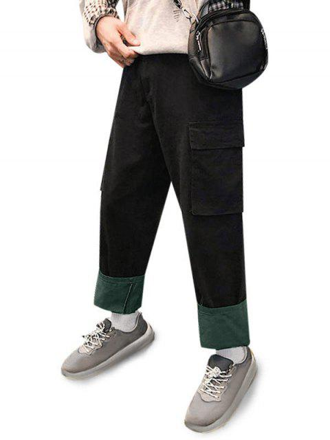 Pantalones Casuales Ajustables Color Empalmado y Cordones - Negro S Mobile