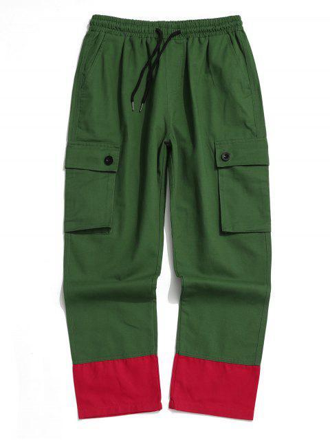 Pantalones Casuales Ajustables Color Empalmado y Cordones - Verde Oscuro S Mobile