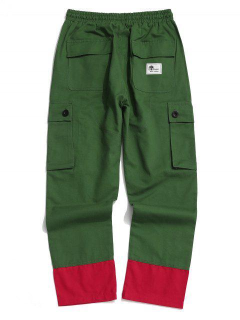Pantalones Casuales Ajustables Color Empalmado y Cordones - Verde Oscuro 2XL Mobile