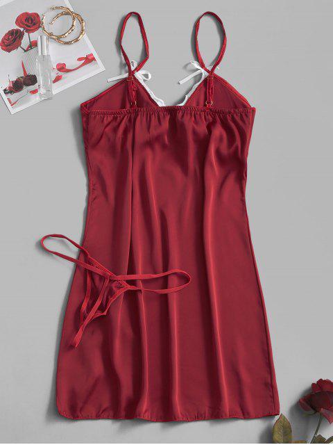 Gepolstertes Seidiger Schlitz Kleid mit Spitzeneinsatz - Roter Wein L Mobile