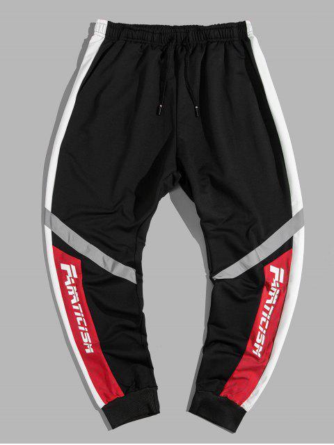 Pantalones Jogger con Estampado de Letras y de Bloqueo de Colores - Rojo XL Mobile