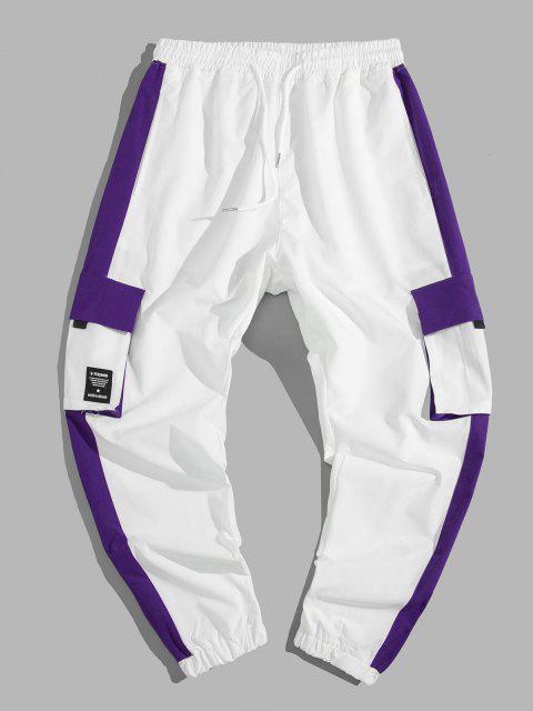 Pantalon Cargo de Jogging Décontracté en Couleur Jointive avec Poche - Blanc L Mobile