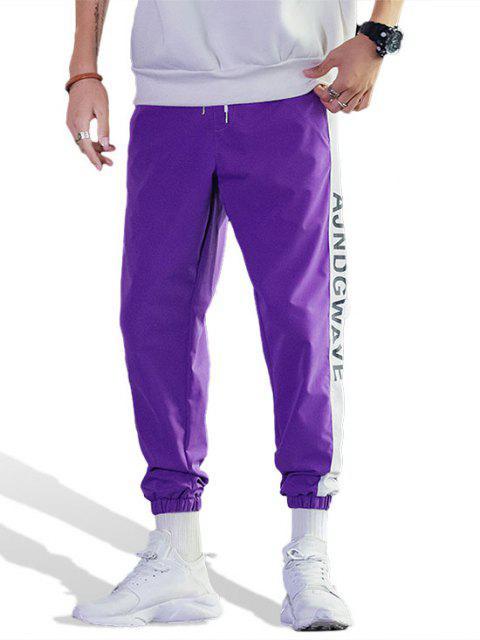 Jogger Pantalones Casual de Estampado de Letras y de Color Bloque - Púrpura L Mobile