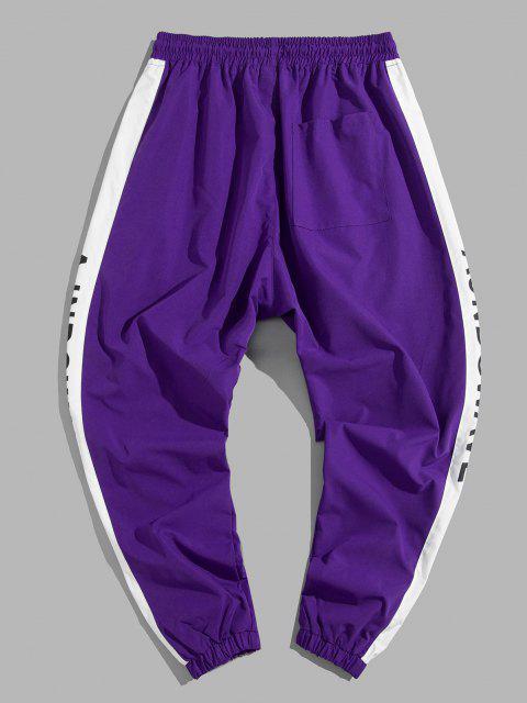 Jogger Pantalones Casual de Estampado de Letras y de Color Bloque - Púrpura XL Mobile