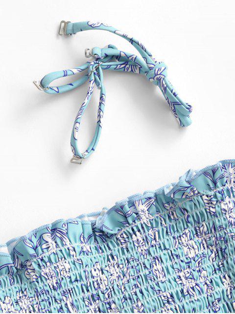 women ZAFUL Floral Smocked Frilled Bandeau Bikini Swimsuit - BLUE L Mobile