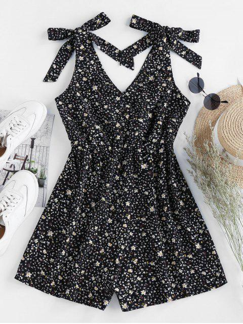 outfit ZAFUL Ditsy Print Tie Romper - BLACK M Mobile