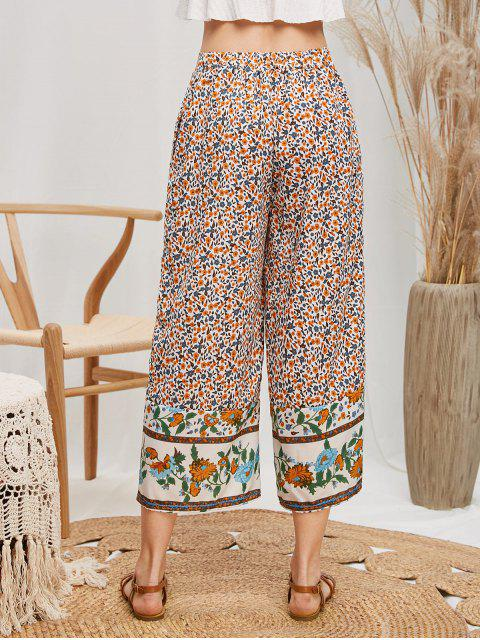 womens High Waisted Ditsy Floral Wide Leg Pants - MULTI-A XL Mobile