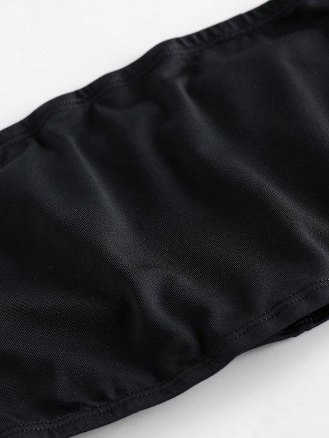 hot ZAFUL Crane Geo Print Strapless Wide Leg Shorts Set - BLACK S Mobile