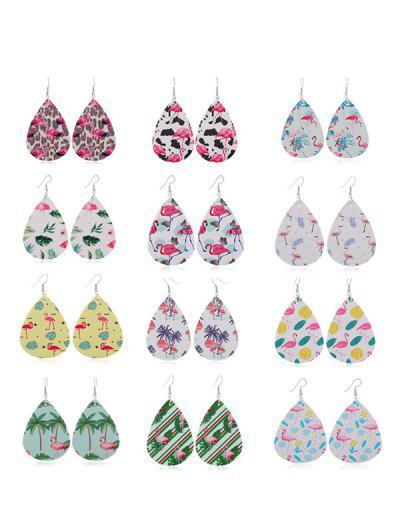 12Pairs Flamingo Print Teardrop Earrings Set