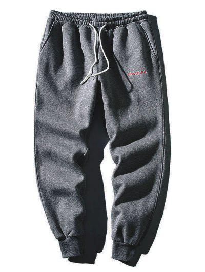 Embroidery Letter Drawstring Jogger Sweatpants - Dark Gray M