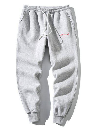 Pantalones Deportivos Bordado Letra Y Cordones - Gris Claro M