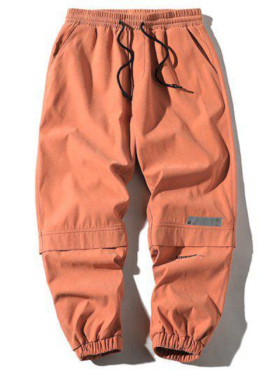 Letter Print Applique Drawstring Cargo Pants - Orange M