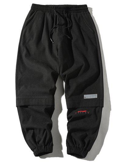 Letter Print Applique Drawstring Cargo Pants - Black M