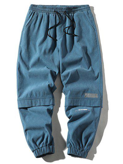 Letter Print Applique Drawstring Cargo Pants - Denim Blue M
