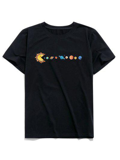 ZAFUL Planet Printed Short Sleeves T-shirt - Black L
