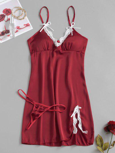 Lace Insert Padded Bowknot Silky Slit Sleep Dress - Red Wine M