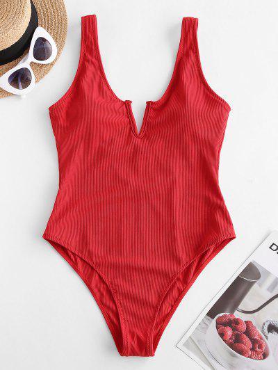 ZAFUL V-notch Ribbed Low Back One-piece Swimsuit - Lava Red M