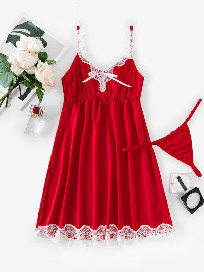 Scalloped Lace Trim T Back Sleep Dress - Red Xl