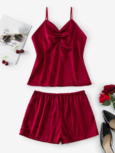 Solid Gathered Front Satin Pajamas Set - Red Wine L