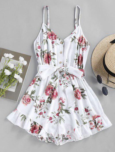 ZAFUL Floral Print Flounce Romper - White S
