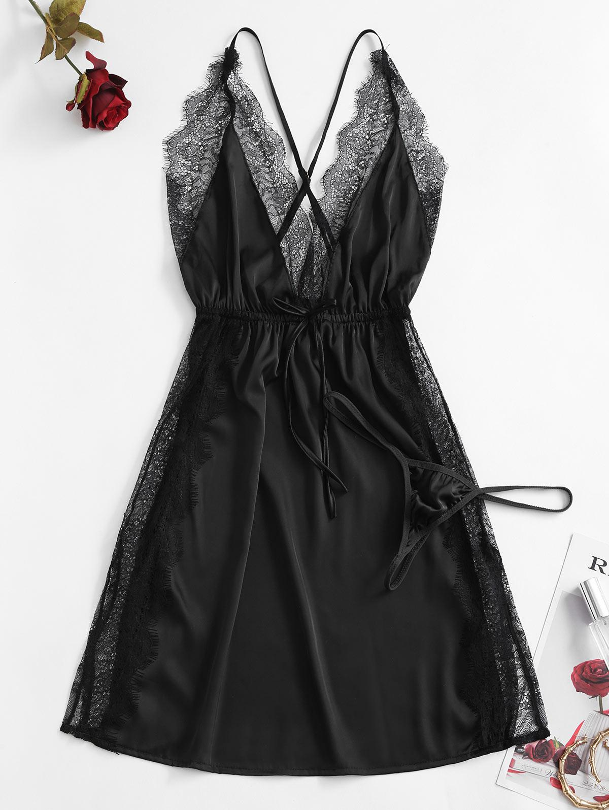 Lace Insert Slit Bowknot Silky Sleep Dress