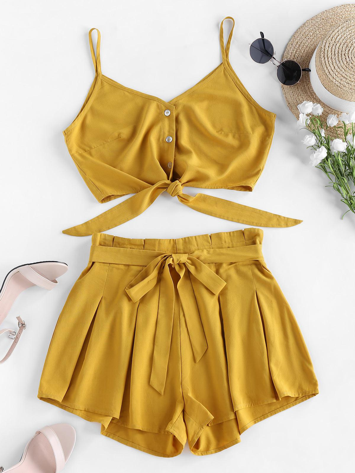 ZAFUL Pleated Knotted Crop Cami Two Piece Set