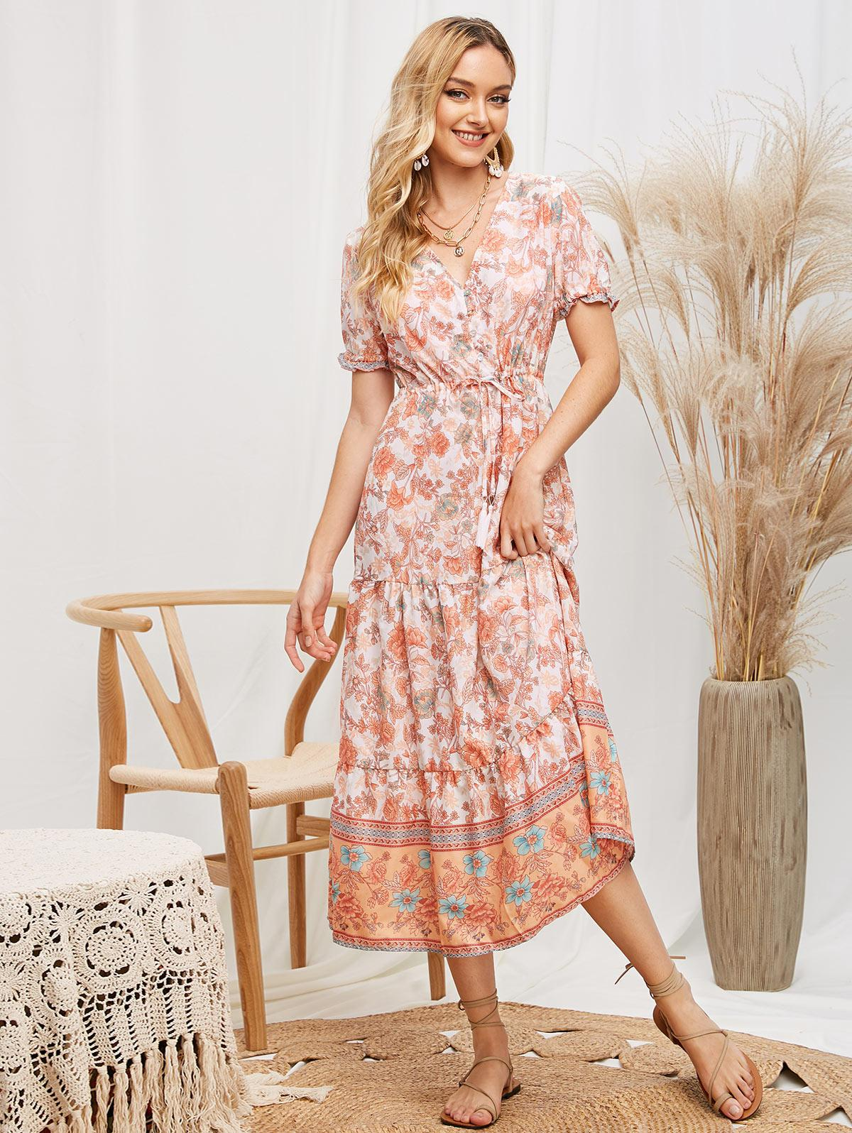 Drawstring Tassels Button Loop Floral Midi Dress фото