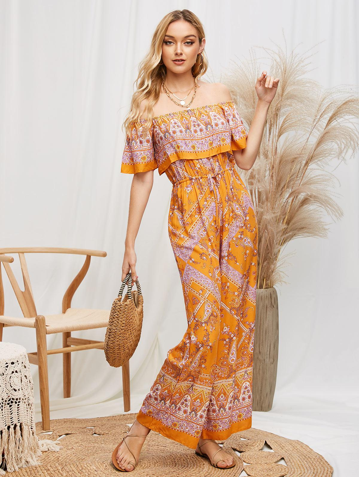 Overlay Flounces Paisley Print Off Shoulder Jumpsuit фото