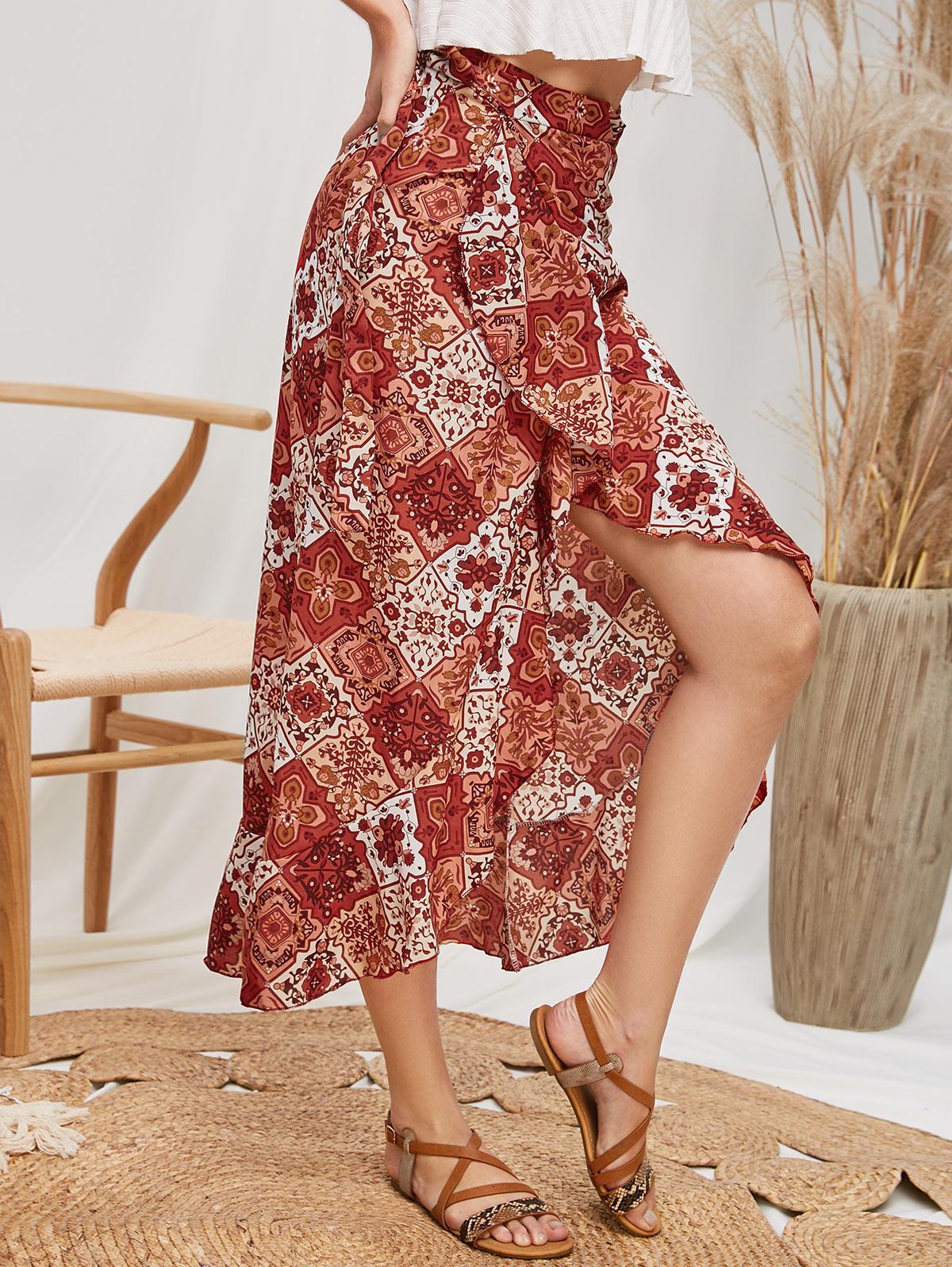 Ruffles Bohemian Printed Wrap Maxi Skirt