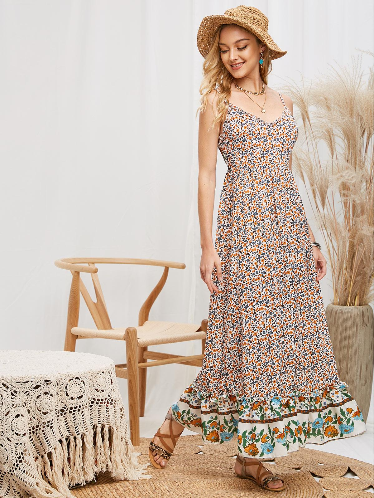 Smocked Back Bohemian Ditsy Floral Cami Dress