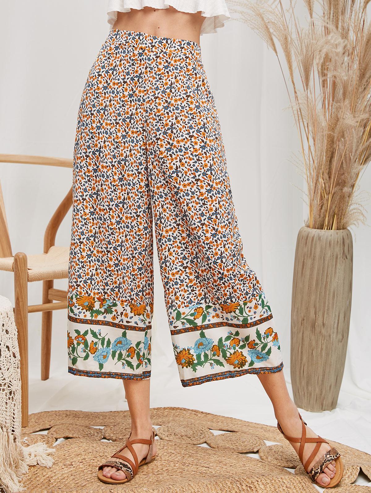Pantalon Fleuri Taille Haute à Jambe Large - ZAFUL - Modalova