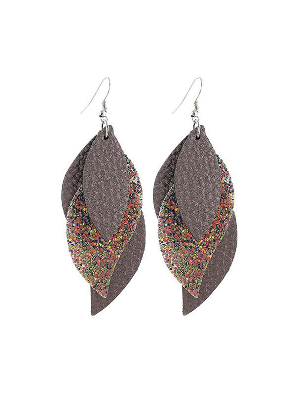 Layers Glitter Leaf Shape Earrings