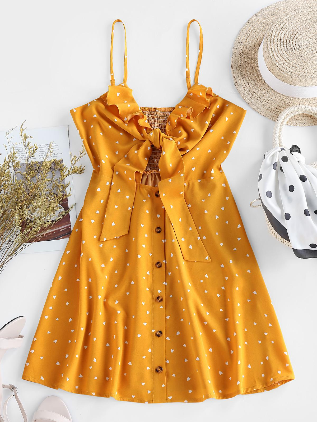 ZAFUL Ditsy Hearts Ruffle Smocked Knot Cami Dress