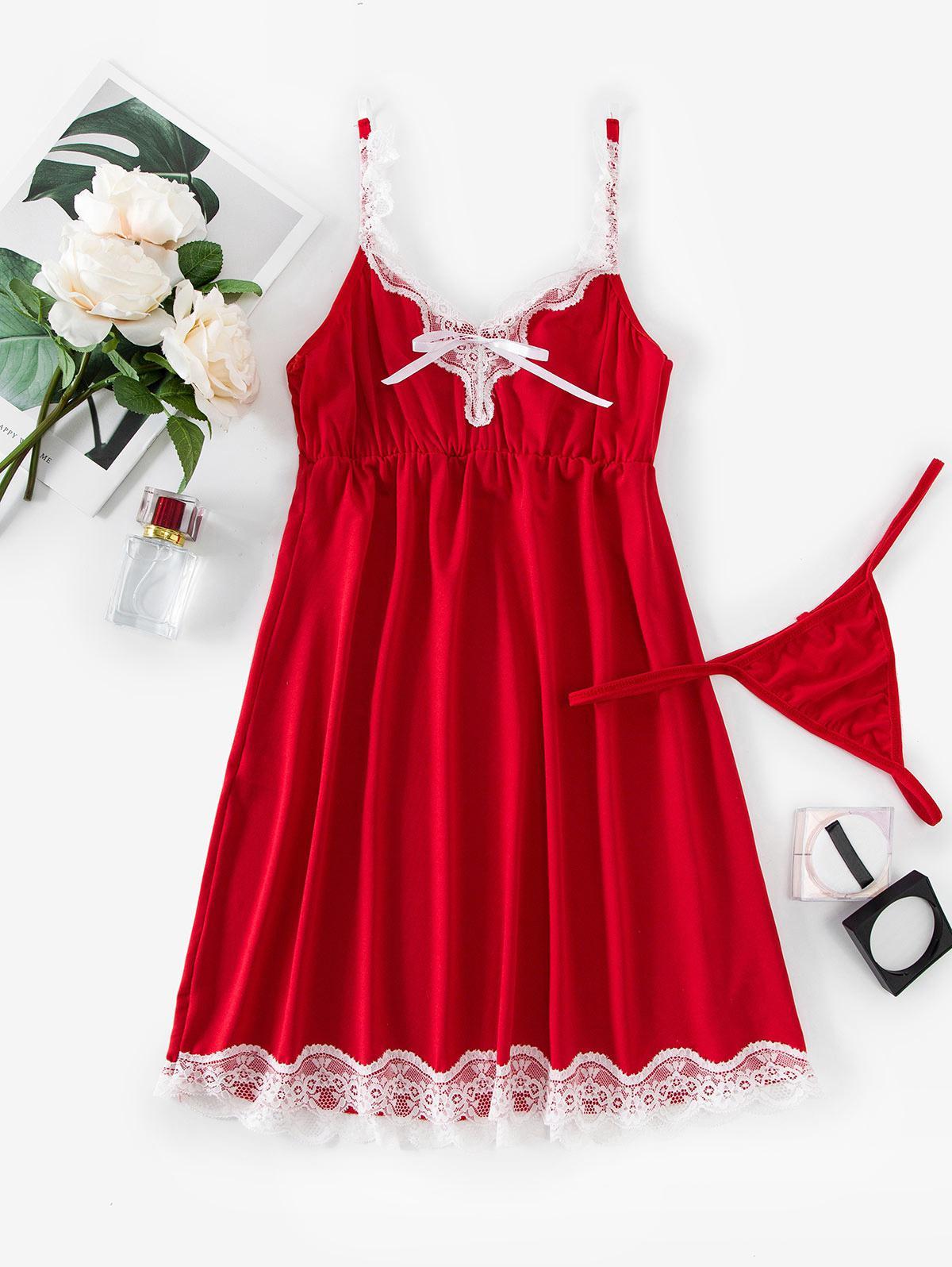 Scalloped Lace Trim T Back Sleep Dress