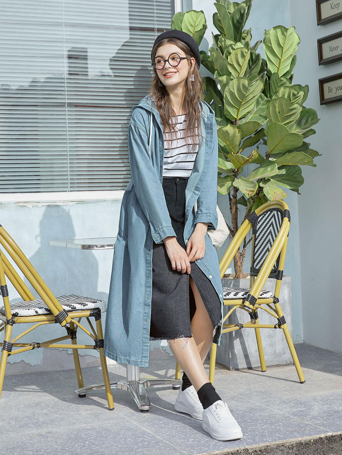 Hooded Slit Longline Denim Coat фото