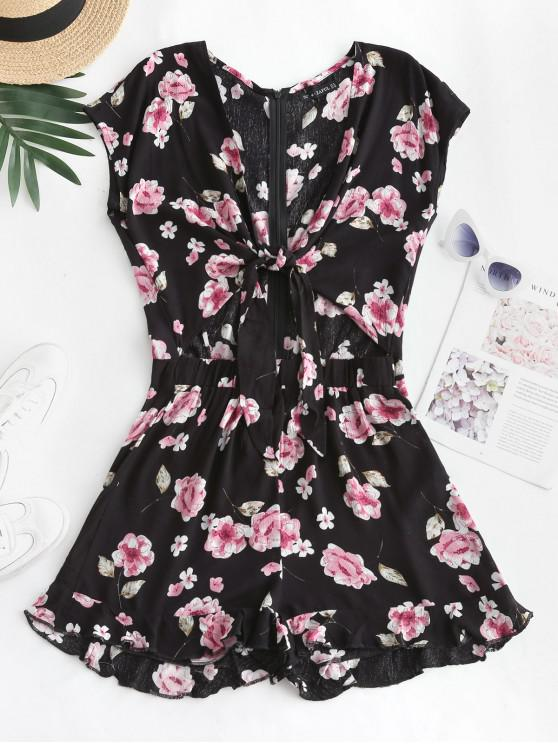 affordable ZAFUL Knot Cutout Floral Romper - BLACK M