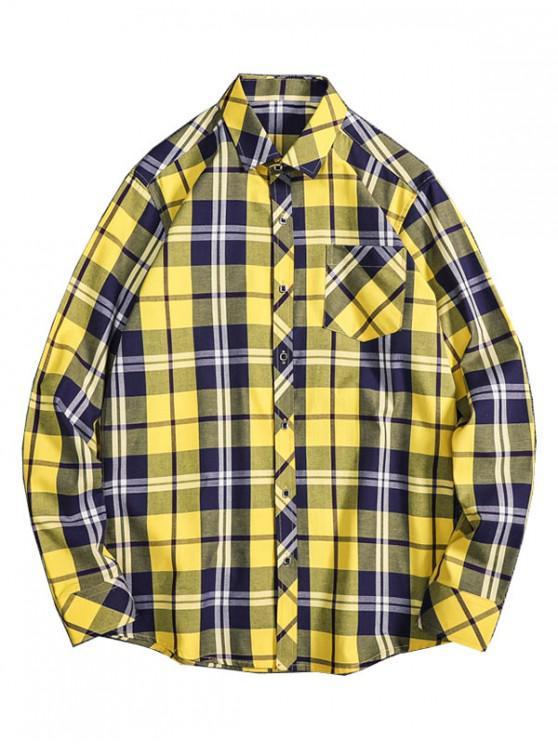 sale Casual Plaid Print Button Pocket Shirt - YELLOW XS