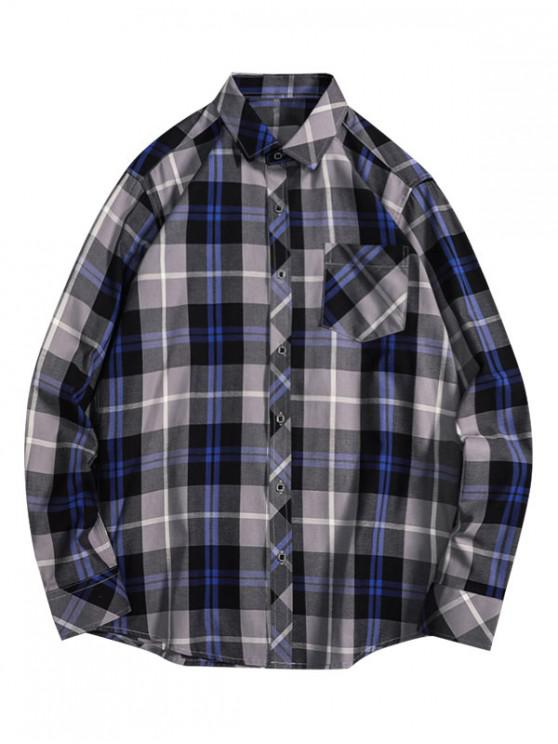 affordable Casual Plaid Print Button Pocket Shirt - GRAY L
