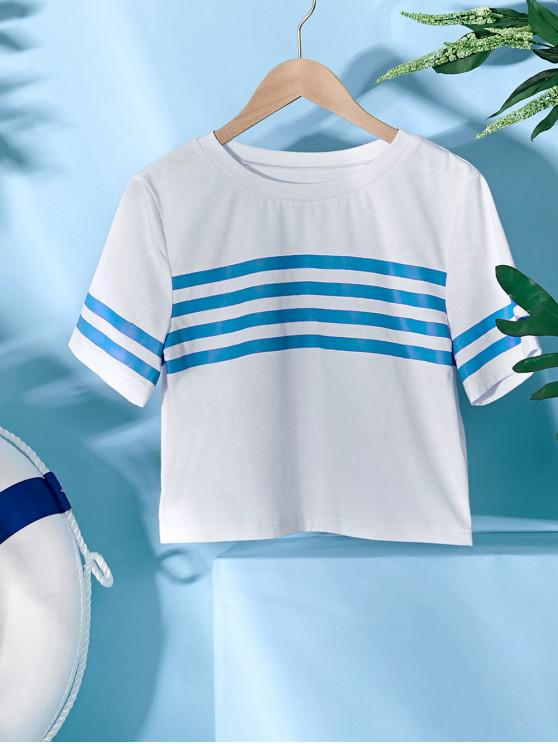 buy ZAFUL Striped Short Sleeve Crop Sailor Tee - WHITE S