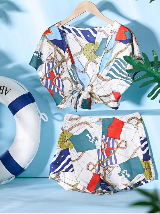 outfit ZAFUL Cropped Sailing Printed Tie Front Two Piece Set - MULTI S