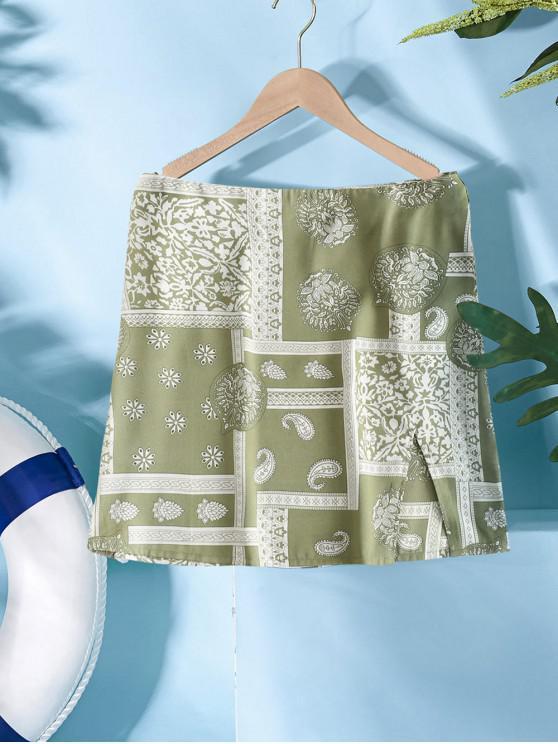 new ZAFUL Front Slit Paisley Print Mini Skirt - MULTI-D M