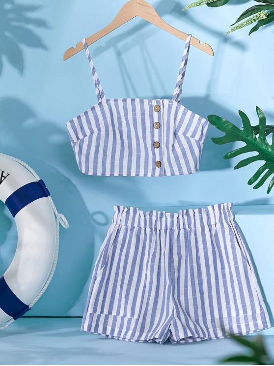 ladies ZAFUL Button Up Sailing Stripes Paperbag Shorts Set - MULTI-B M