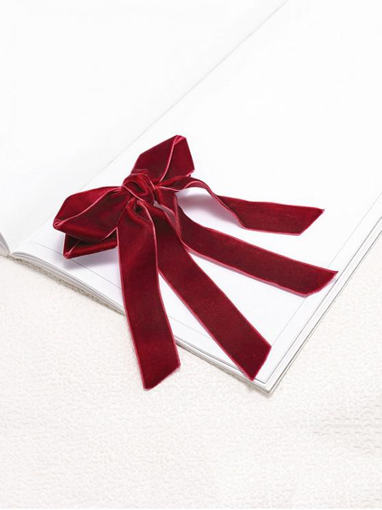 sale Bowknot Ribbon Velour Hair Clip - RED WINE