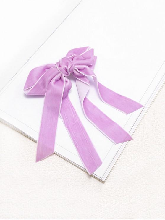 affordable Bowknot Ribbon Velour Hair Clip - PURPLE